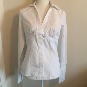PINK Thomas Pink white front bow button up shirt
